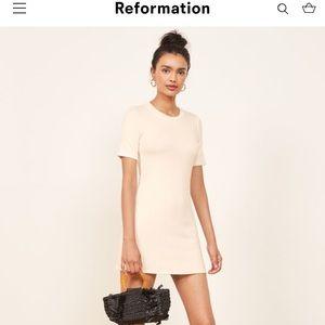 Reformation Gigi  Ribbed T Shirt Dress